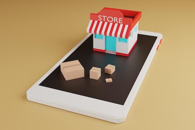 アニメーションオンラインショッピングeコマース、ショップ、スマートフォンのボックス、3 dレンダリング