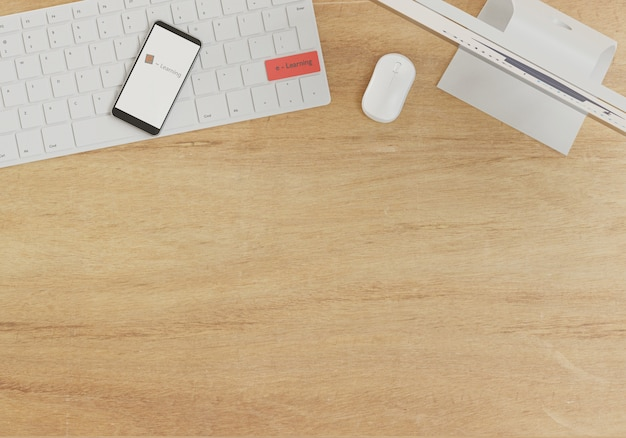 E - концепция обучения, расходные материалы для мобильных телефонов и компьютеров на деревянном столе, онлайн-школа с 3d-рендерингом