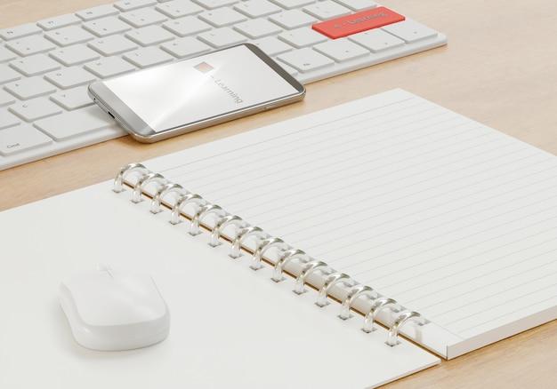 E - концепция обучения, блокнот и компьютерные принадлежности на деревянном столе, онлайн-школа с 3d-рендерингом