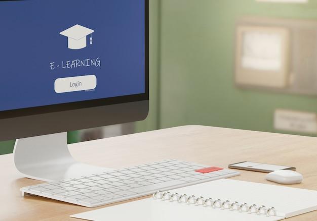 E-学習の概念、メモ帳、コンピューター用品、木製のテーブル、3dレンダリングのオンライン学校