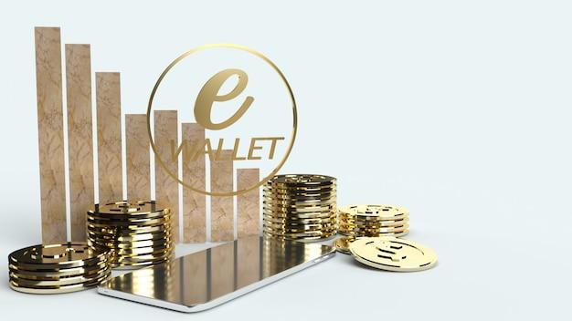 Передвижной символ e кошелек и золотые монеты 3d-рендеринга для концепции бизнеса е.