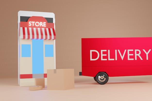 スマートフォンでのアニメーションのオンラインショッピングeコマース、ストア、ボックス、配送トラック、3dレンダリング