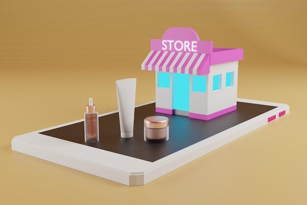 アニメーションオンラインショッピングeコマース、ストア、化粧品、スマートフォン、3dレンダリング