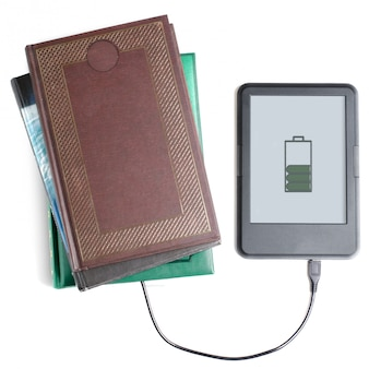 E-book reader and book connected with cable. white background.