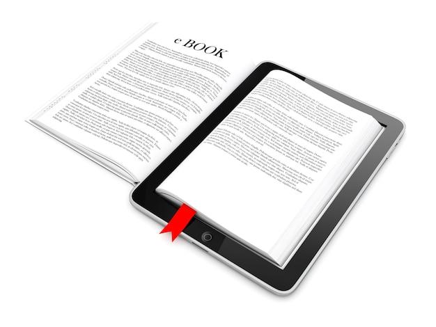 흰색 바탕에 전자 책 태블릿