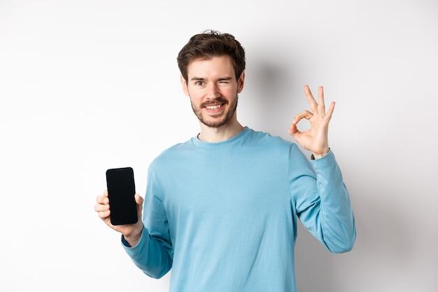전자 상거래 및 쇼핑 개념. 웃는 남자 윙크 하 고 빈 스마트 폰 화면으로 괜찮아 기호 표시, 흰색 배경에 서있는 온라인 제안을 추천합니다.