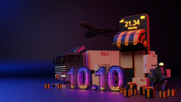 전자 상거래 개념입니다. 10.10 네온 불빛 온라인 쇼핑. 3d 렌더링
