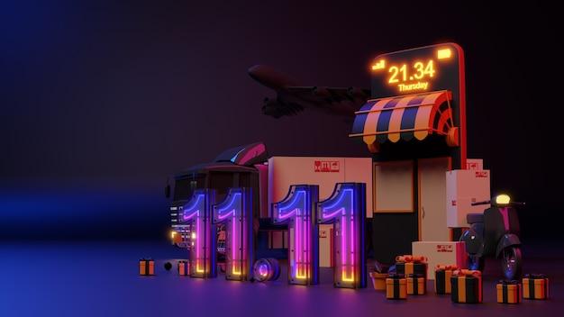 전자 상거래 개념., 11.11 네온 불빛 온라인 쇼핑. 3d 렌더링.