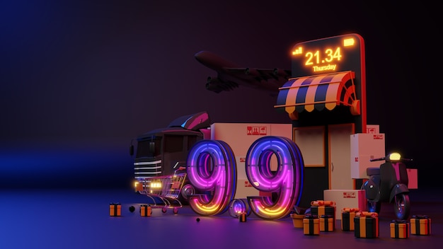 전자 상거래 개념입니다. 9.9 네온 불빛 온라인 쇼핑. 3d 렌더링