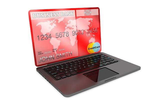 전자 상거래 개념입니다. 흰색 바탕에 노트북 컴퓨터와 신용 카드