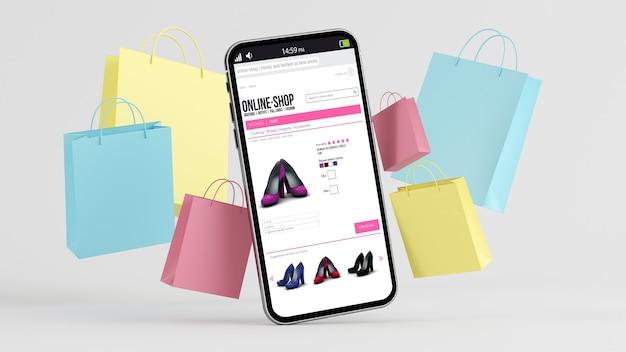 Eコマースのコンセプト:画面にショップがあるモバイルバッグとショッピングバッグ3dレンダリング