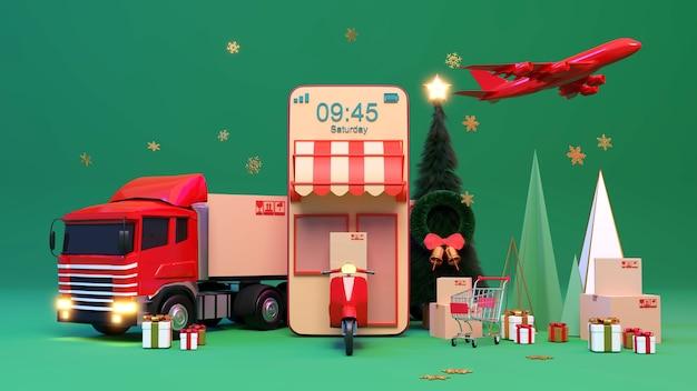 크리스마스 또는 새해에 전자 상거래 개념, 온라인 쇼핑 및 모바일 응용 프로그램 배달 서비스., 3d 렌더링.