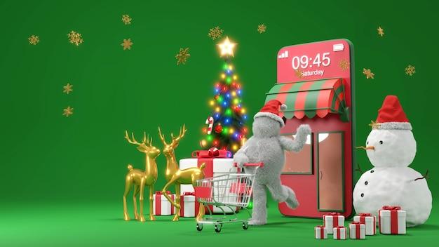 クリスマスや新年のeコマースコンセプト、オンラインショッピングとモバイルアプリケーションでの配信サービス、3dレンダリング。