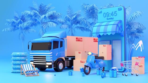 夏のeコマースコンセプト、オンラインショッピングとモバイルアプリケーションでの配達サービス、スクーターによる輸送または食品配達、3dレンダリング。