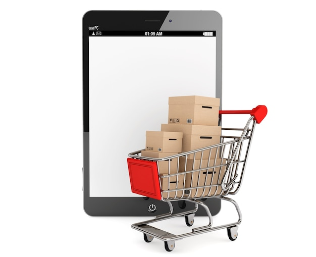 E-commerce concept. shopping cart with boxes near tablet pc on a white background