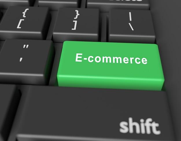 Eコマースの概念。コンピューターのキーボードのボタンの単語の電子商取引