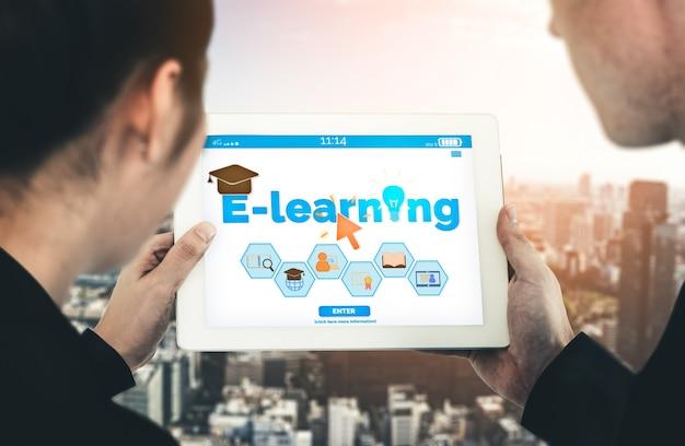学生と大学の概念のためのeラーニングとオンライン教育。人々がどこからでも遠隔学習を行うためのデジタルトレーニングコースの技術を示すグラフィックインターフェイス。