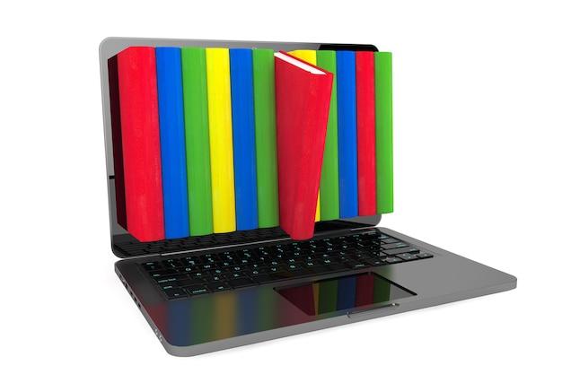 Концепция электронного обучения. ноутбук с красочными книгами на белом фоне