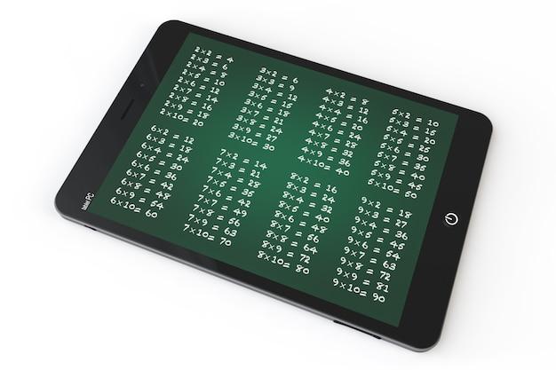 Концепция электронного обучения. планшетный пк с таблицей умножения на белом фоне