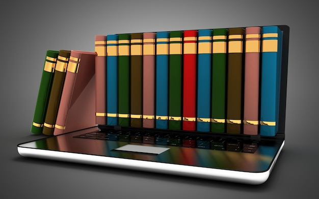 E-learning education internet library or book store and laptop concept. 3d illustration