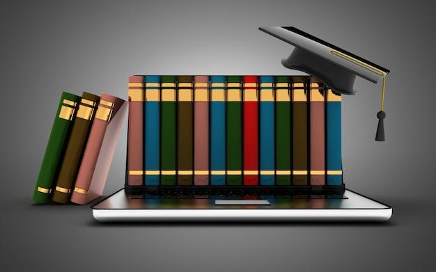 Интернет-библиотека электронного обучения образования или книжный магазин и концепция ноутбука. 3d иллюстрация