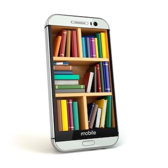 E-러닝 교육 또는 인터넷 라이브러리 개념입니다. 스마트폰과 책. 3d
