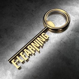 E-learning - golden key on black metallic background. 3d rendering