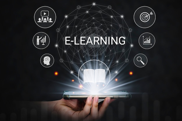 E-learning online in the digital age knowledge education and training seminar personal development.