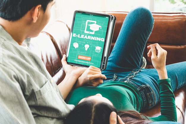 E-learning and online education for student and university concept