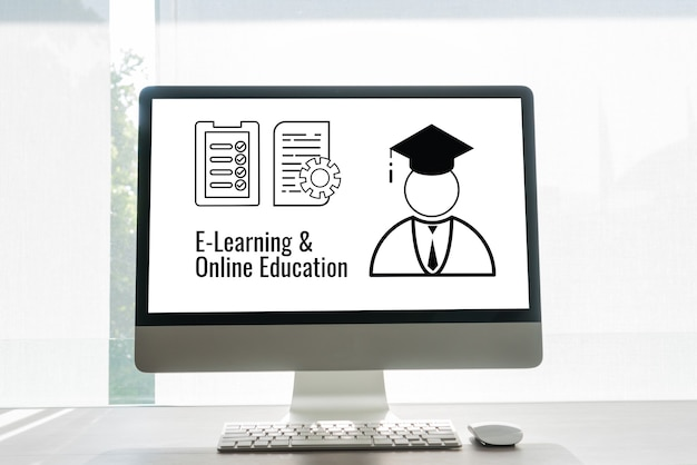 Электронное обучение онлайн с документом о бумажном оформлении значков и выпускником международного университета за границей по компьютерному монитору. экзамен или получение сертификата можно узнать по всему миру с помощью интернет-технологий