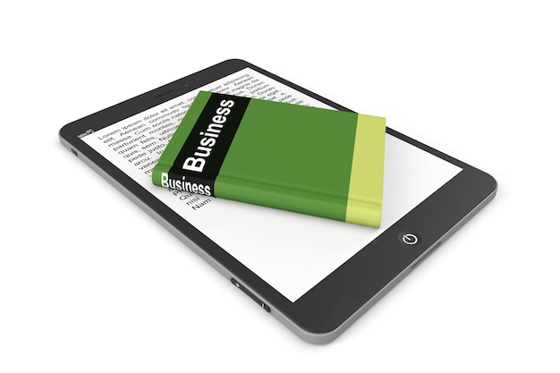 E-library concept. tablet pc with book on a white background
