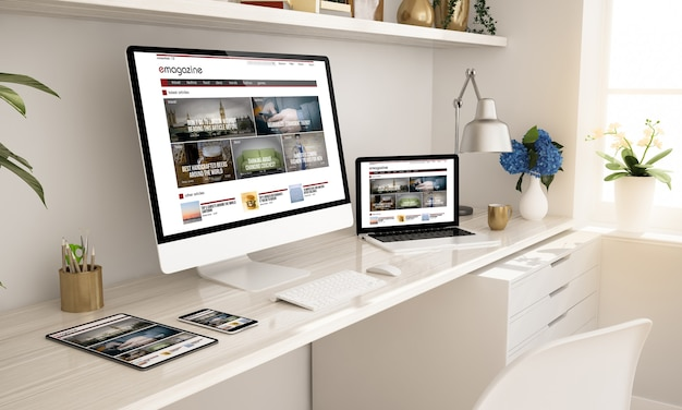 E-magazine website on responsive devices home office setup 3d rendering