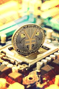 Золотая монета e-rmb, китайский цифровой юань, концептуальное изображение цифровой версии юаня