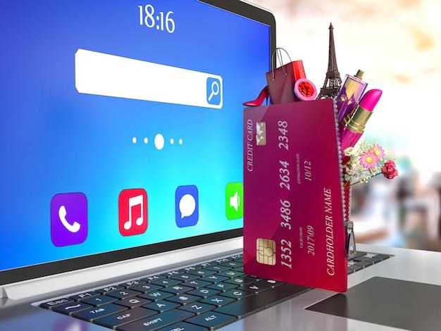 ノートパソコンのキーボードのクレジットカード。インターネットショッピングとeコマースのコンセプト