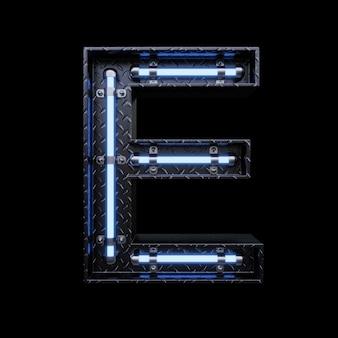 青いネオンのネオンライト文字e。
