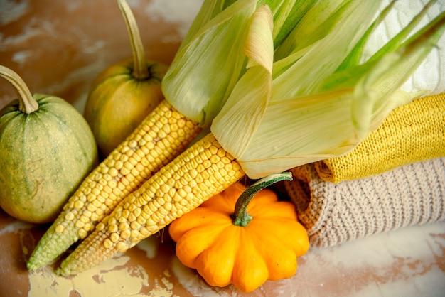Кукурузный початок и желтые тыквы на вязаном уютном свитере.
