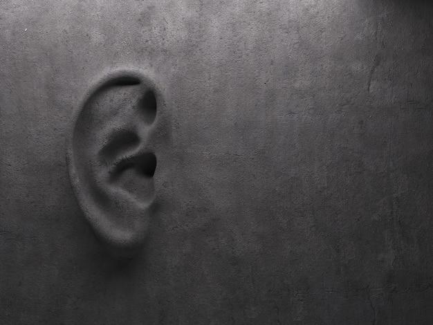 Ухо на стене концепции. высококачественный фотореалистичный рендер