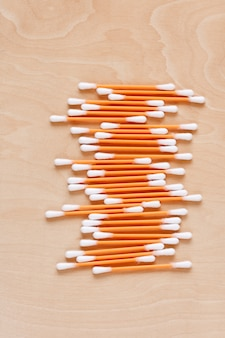 Ear sticks scattered on a table