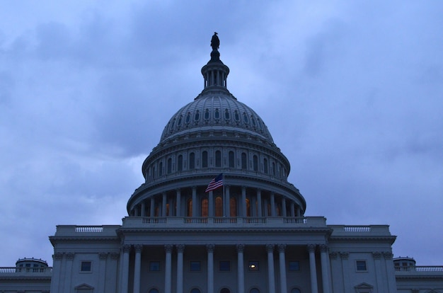 Early evening hours view of capitol dome in washington dc.
