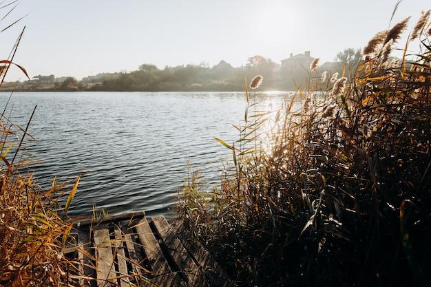 이른 아침. 햇빛 광선에 아름 답 고 다채로운가 호수입니다. 가 배경입니다.