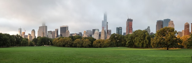 Рано утром в центральном парке нью-йорка с горизонтом манхэттена и небоскребами