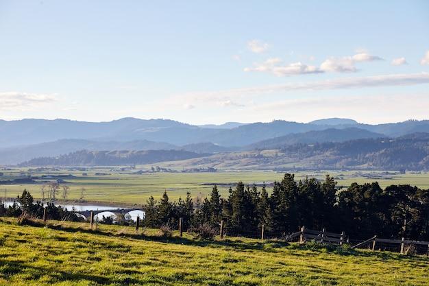 Humboldt 카운티의 캘리포니아 주 유레카 근처 농지의 이른 아침 풍경