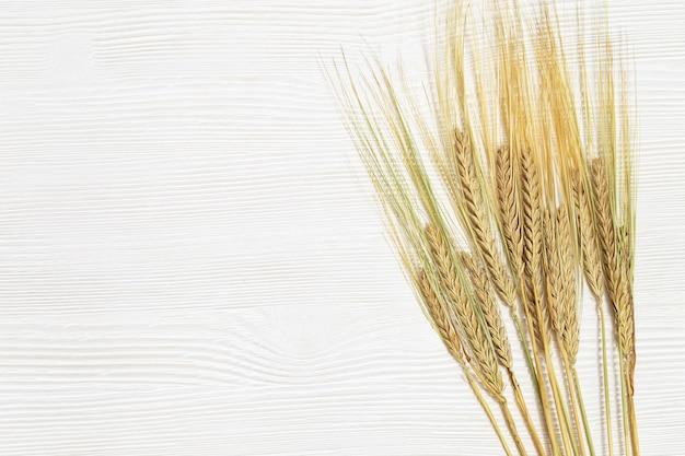 熟したライ麦の穂熟した穂と白い木製の背景がクローズアップ秋の収穫の概念