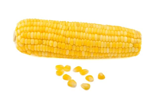 흰색 배경에 고립 된 달콤한 옥수수의 귀