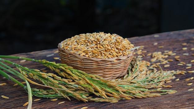 고리 버들 세공 바구니에 태국 쌀과 곡물의 귀