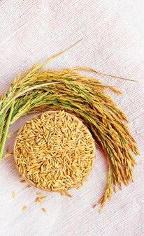 흰색 린넨 원단에 태국 쌀과 쌀의 귀