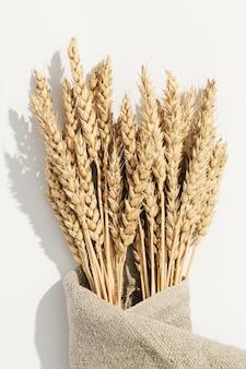 小麦の穂は白い背景と荒布でクローズアップ天然穀物植物