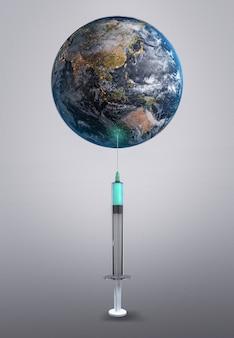 Earth 3dレンダリング用ワクチン。 nasaから提供されたこの画像の要素