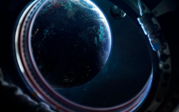 Земля и луна. научно-фантастические обои. элементы этого изображения, предоставленные наса