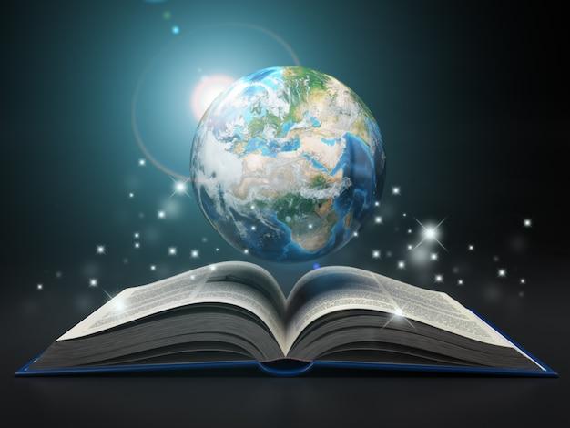 지구와 책. 교육 인터넷 e-학습 개념입니다. 3d